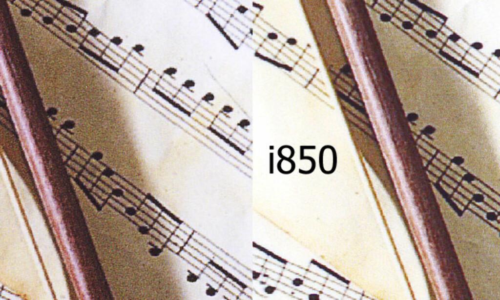 """Her ser du et eksempel på at S900 gjengir detaljene i det falmede papiret bedre enn i850. i850 er derimot klart best på å gjengi bildet med langt færre synlige """"korn"""". Klikk på bildet for større utgave."""