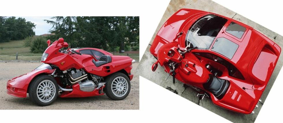 Bil, motorsykkel? Nei begge deler.Bildemontasje fra Breganze
