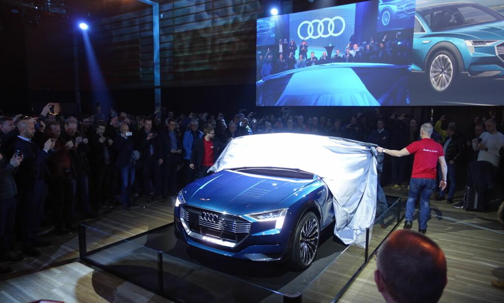 AVDUKET: Flere hundre kunder fikk en sniktitt på sin fremtidige bil i dag. Foto: Fred Magne Skillebæk