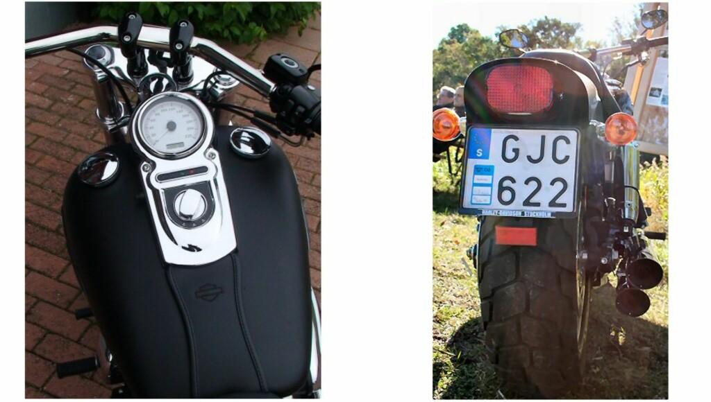 Speedometer plassert på tanken, legg også merke til de to lokkene på tanken. Den til høyre er tanken, mens den til venstre er bensinmåleren - en fiffig plassering om enn helt uleselig når du kjører.