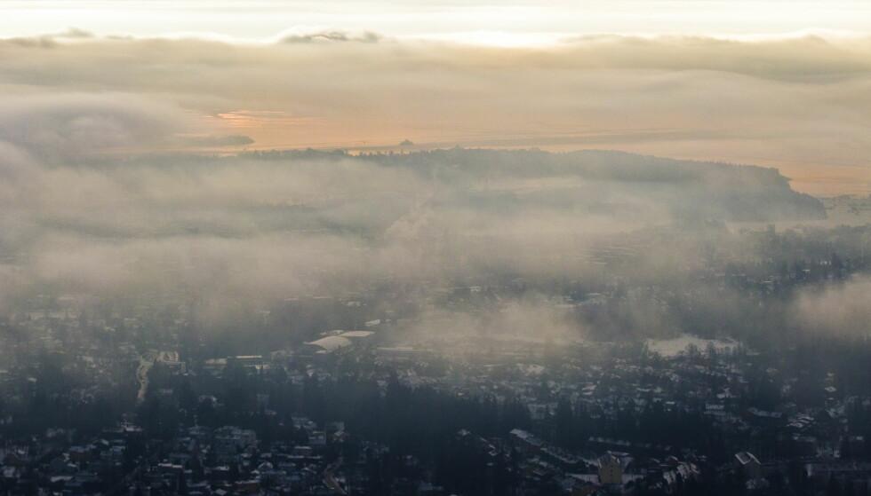 Kaldt vær og forurensing fører til at luft presses ned i skoddehavet over Oslo. Foto: Vegard Grøtt / NTB scanpix