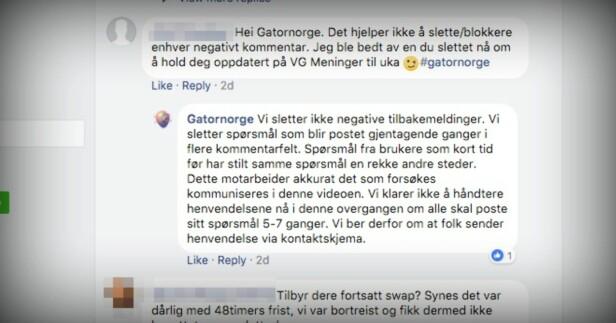 SLETTET KOMMENTARER: Gator AS skal ha slettet innlegg fra brukere på Facebook-siden sin, men hevder det kun gjøres med gjentagende spørsmål. Skjermbilde: Facebook