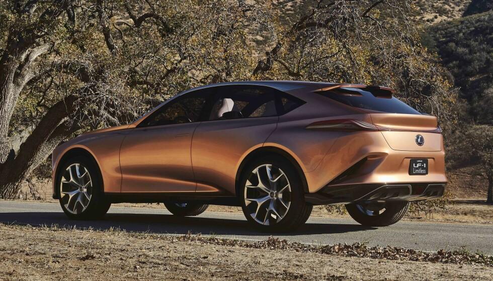 NESTE GENERASJON: Lexus LF1 Limitless er en svær bil i luksusklassen, men er i motsetning til nye LS en crossover. Med over fem meter i lengden blir de nye visuelle grepene enda mer slående. Konseptbilen vises på bilutstillingen i Detroit. Foto: Lexus