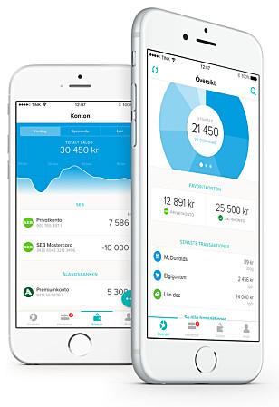 MORGENDAGENS VIRKELIGHET: I Sverige har de appen Tink, som blant annet enkelt og pent gir deg oversikt over alle kontoene dine og lar deg flytte lånet. Snart vil vi se mer av dette også i Norge. Foto: Tink