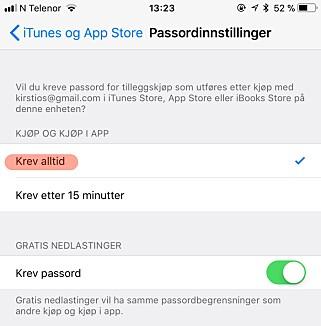 STOPP UØNSKEDE KJØP: Hvis du ikke begrenser app-kjøp i foreldrekontroll, skru i hvert fall på denne innstillingen. Skjermbilde: