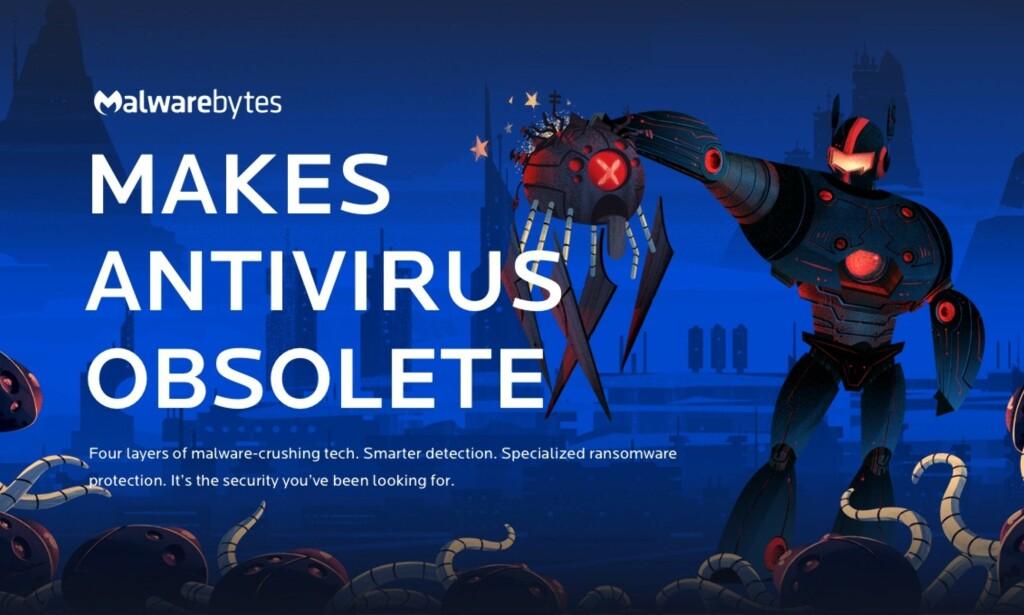 REKLAME: Malwarebytes går friskt ut med en robot som ødelegger et virus. Ifølge Which? lever de ikke opp til forventningene. Foto: Malwarebytes