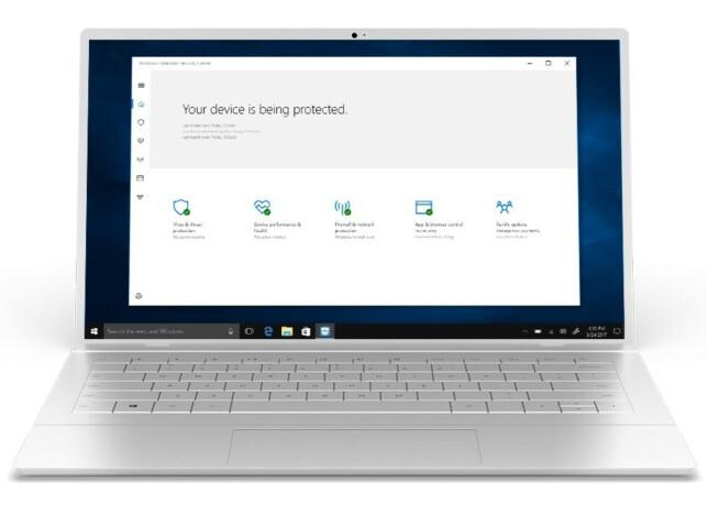 INNEBYGD: Alle som har nyeste versjon av Windows har antivirusprogrammet Windows Defender om bord. Men beskyttelsen er bare midt på treet, ifølge Which? Foto: Microsoft