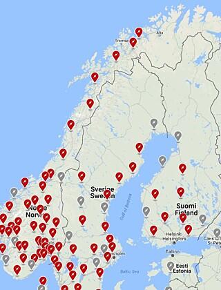 «TOMT I NORD»: Mangel på røde markører viser at Tesla ikke har en eneste hurtiglader i Finnmark og at er relativt få i Nord-Norge generelt. Skjermdump: Tesla.com