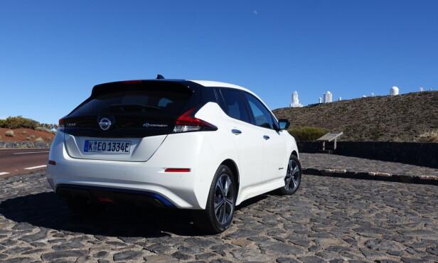 27 MIL: Rekkevidden det er realistisk å forvente er nå den som blir oppgitt. Nissan er ført ute med den mer nøkterne beregningen av rekkevidde etter WLTP-normen som erstatter den urealistiske EU-syklusen NEDC. Foto: Knut Moberg