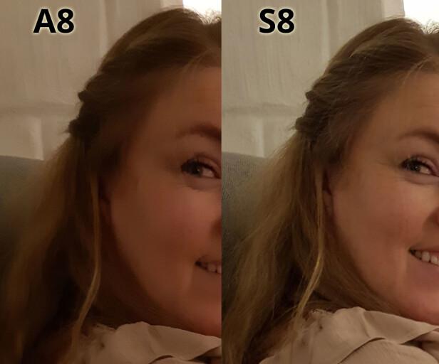 FÆRRE DETALJER: Hvis du studerer de to utsnittene i full størrelse, vil du se stor forskjell på detaljrikdommen i hud og hår. Teknisk info A8-utsnittet: f/1,7 ISO640, lukkertid 1/17 sek. Teknisk info S8-utsnittet: f/1,7, ISO500, lukkertid 1/10 sek. Foto: Bjørn Eirik Loftås