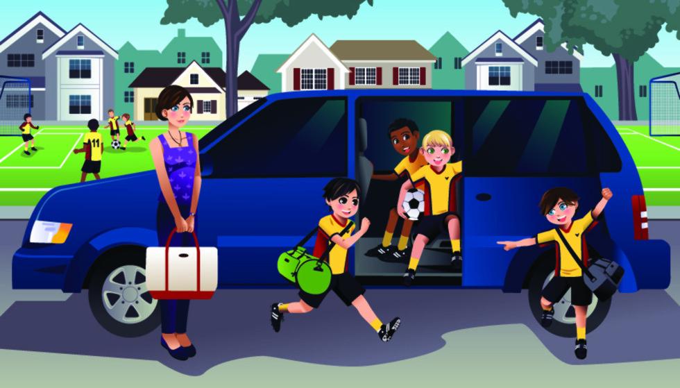 KLASSEDELT: Vi gjør et forsøk på å forklare segmentene bilene er delt inn i, her illustreres en typisk flerbruksbil, ofte kalt «Soccer mom´s car» i USA. Illustrasjon: Shutterstock