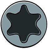 TORX-SPOR: Det ser ut som en sekskantet stjerne med avrundede kanter.