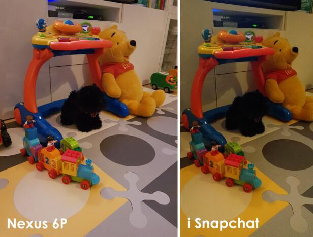 TYDELIG FORSKJELL: Nexus-en har et svært bra kamera, men det skulle man ikke tro om man bare så på Snapchat-bildene. Foto: Kirsti Østvang