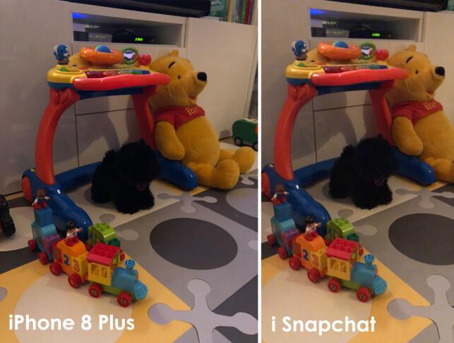KUTTER KANTENE: Du får ikke med like mye i bildet med Snapchat-appen som med det vanlige mobilkameraet. Foto: Kirsti Østvang