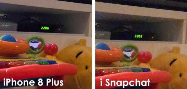 UKLART: Detaljnivået er tydelig høyere på bildet tatt med iPhonens vanlige kamera sammenlignet med Snapchat-appen. Foto: Kirsti Østvang