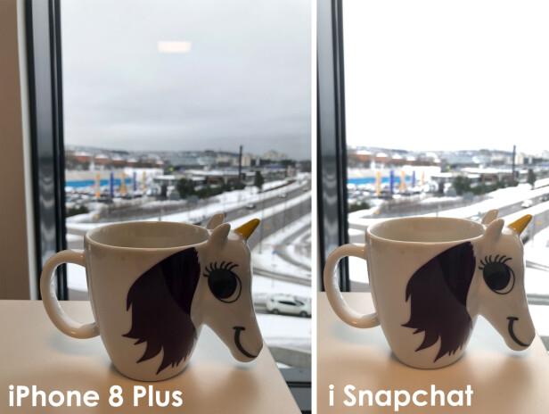 UTBRENT HIMMEL: HDR-funksjonen som iPhone 8 Plus-kameraet har, ser ikke ut til å slå ut i Snapchat-kameraet i det hele tatt. Foto: Kirsti Østvang