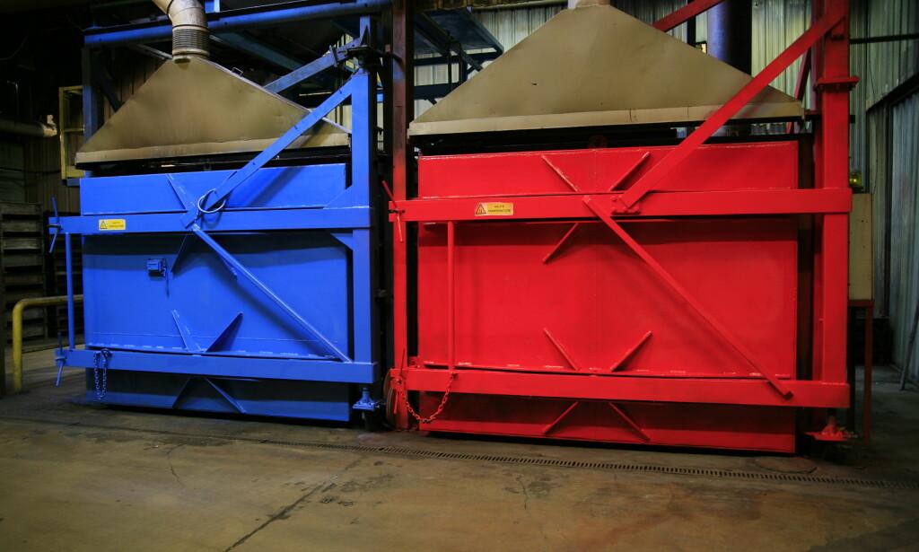 PYROLYSEBRENNERE: I disse store ovnene behandles litium-ion cellene når de resirkuleres. Foto: SNAM Floridienne.