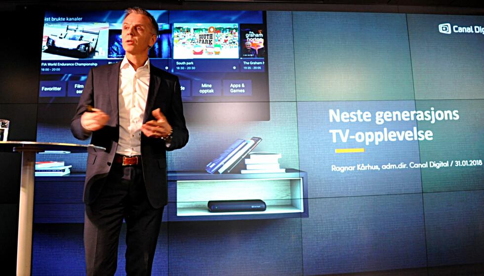 <strong>NESTE GENERASJON:</strong> Canal Digital Satellitts direktør Ragnar Kårhus lar Google hjelpe til med å ta satellitt-TV inn i framtida. Foto: Tore Neset