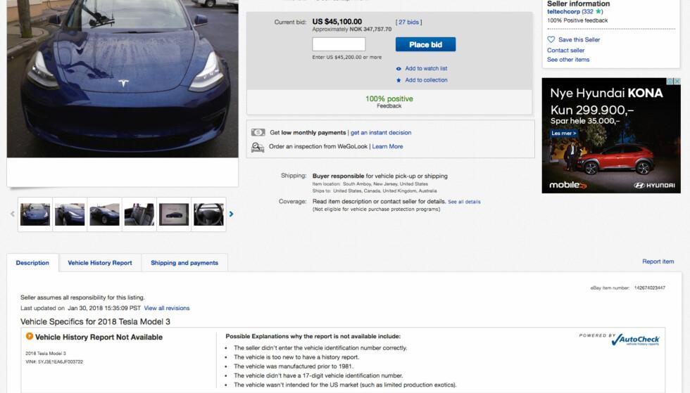EL-BUY: Denne nye Tesla Model 3 ligger til salgs på ebay.com. Fristende, men du bør tenke deg om før du kjøper.