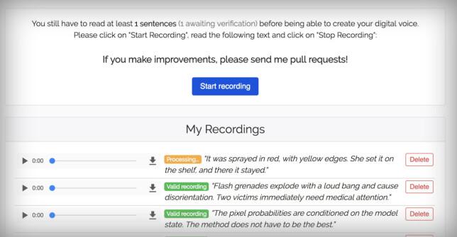 Lyrebird lar deg lese inn minst 30 setninger for å generere en stemmeprofil. Skjermbilde: Pål Joakim Pollen