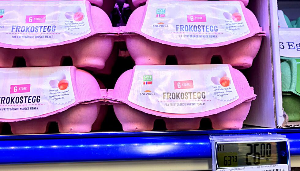 I SMÅTT: Frokosteggene koster 26 kroner i sekspakning på Rema 1000, mens 12-pakningen bare koster fire kroner mer. Foto: Tore Neset