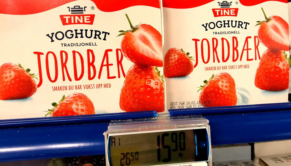BEGER LØNNER SEG: 600 gram yoghurt fordelt på fire begere er over sju kroner billigere pr. kilo enn 500 gram i ett beger. Foto: Tore Neset