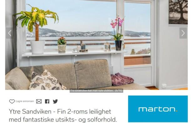 BOLIG I BERGEN: For to millioner får du en 40-kvadratmeters leilighet med maritim utsikt. Foto: skjermdump.