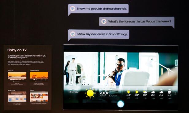 BIXBY PÅ TV: Mens konkurrentene lener seg mot Google, har Samsung valgt å utstyre sine TV-er med sin egen kunstige intelligensløsning, Bixby. Foto: Samsung