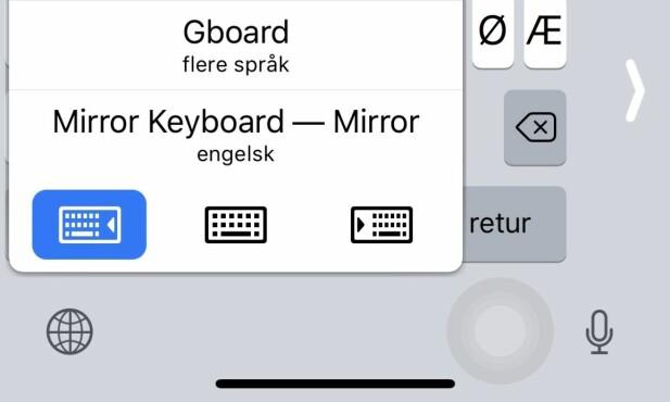 FLYTT TIL SIDEN: Apples iOS-tastatur kan flyttes til siden ved å holde fingeren inne på globusen og velge side som angitt over. Skjermbilde: Pål Joakim Pollen