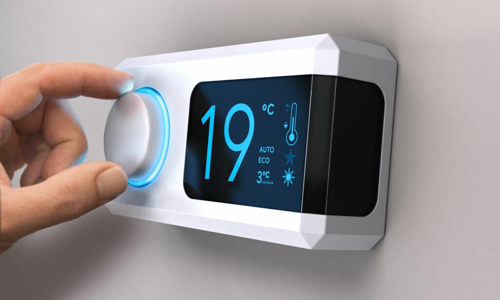 LAVERE TEMPERATUR: Litt penger vil du spare ved å senke temperaturen når du sover eller ikke er hjemme. Men rik blir du ikke akkurat. Foto: Olivier Le Moal/Shutterstock/NTB scanpix