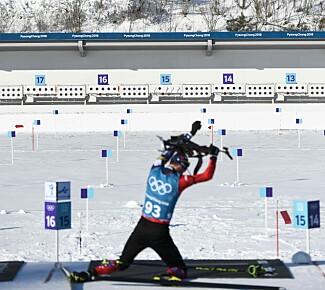 MIDT PÅ DAGEN: Alle øvelsene i skiskyting starter rundt lunsjtider norsk tid under OL i Pyeongchang. Foto: Dylan Martinez / Reuters / NTB Scanpix