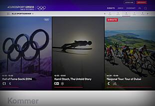 PÅ NETT: Strømmetjenesten Eurosport Player kan prøves gratis i 30 dager og gir deg OL-sendingene på nett. Faksimile: Eurosport