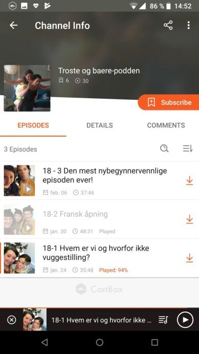 CASTBOX: En fin og enkel app som lar deg abonnere på iTunes-podkaster. Skjermbilde: Kirsti Østvang