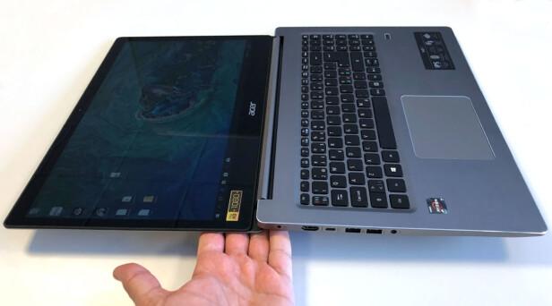 DETTE ER KULT: Det er ikke mange rene PC-er som lar deg legge skjermen helt flatt. Swift 3 er ett av få unntak. Foto: Bjørn Eirik Loftås