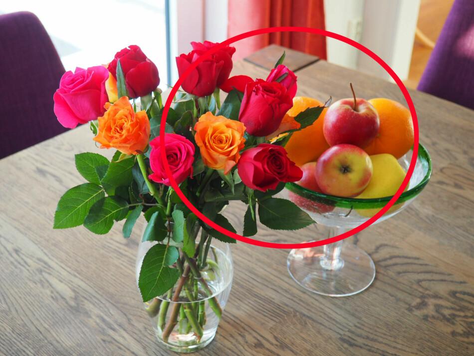 NEI, IKKE SLIK: Om du vil at blomstene dine skal vare lengst mulig så bør du ikke sette dem på samme bord som fruktskåla. Det er fordi frukt avgir etylen-gass som fremskynder modning, også på blomster. Foto: Kristin Sørdal