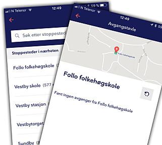 FANT ET STOPP SOM IKKE FINNES: Det er ikke noe stoppested på Follo folkehøgskole, men likevel dukka den opp i Entur-appen. Skjermbilde: Kirsti Østvang