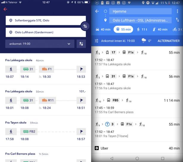 FLERE REISEFORSLAG: Både Entur og Google Maps kommer med flere reiseforslag. I Entur kan du se hvor mye turen vil koste, om billettkjøp er mulig. Skjermbilde: Kirsti Østvang