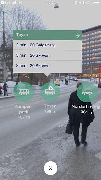 FINN STOPPESTED MED AR: I den nyeste versjonen av Entur for iPhone kan du søke opp stoppesteder med AR-funksjonalitet à la Pokemon Go. Kjekt når du ikke er kjent, og trenger å sjekke om det er noen stoppesteder i nærheten av deg. Skjermbilde: Kirsti Østvang