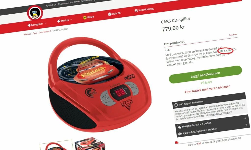 SELGES FORTSATT: Denne Disney-radioen med tema fra Pixar-filmen «Cars» er trukket fra Jollyrooms norske nettbutikk. Men den selges fortsatt i nettbutikken BR.no - bare med FM. Foto: Brio