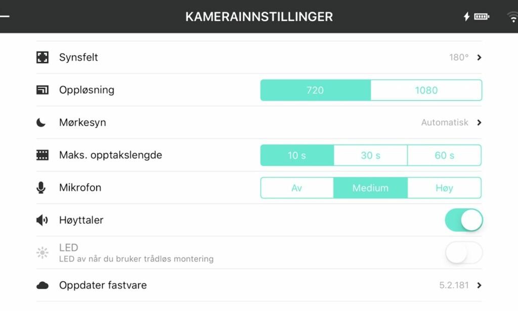 INNSTILLINGER: Via appen kan du gjøre en rekke tilpasninger og innstillinger. Skjermdump: Bjørn Eirik Loftås