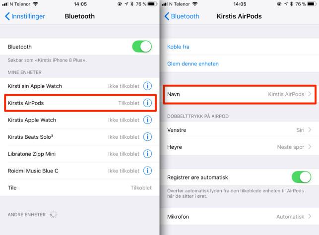BLUETOOTH-INNSTILLINGER: Du tilpasser dine AirPods fra Bluetooth-innstillingene på din iPhone. Skjermbilde: Kirsti Østvang
