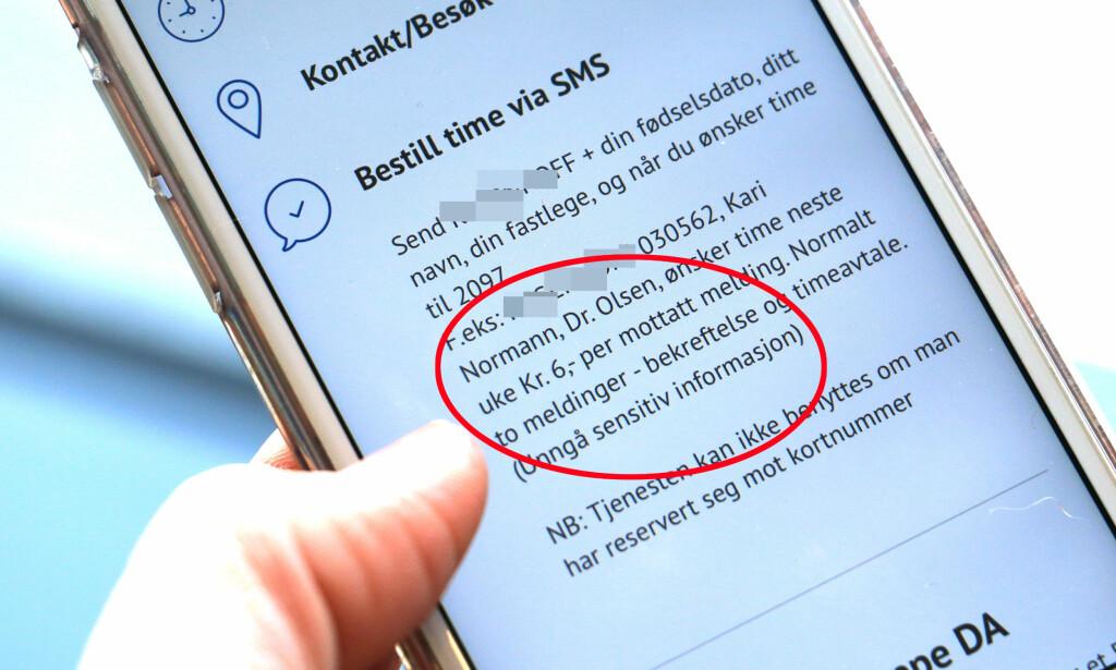LEGEKONTOR TAR 6 KRONER PER SMS: Du får to meldinger - så til sammen blir det 12 kroner for å bestille time på SMS til dette legekontoret i Oslo. Dinside har kontaktet legekontoret - men ikke fått svar. Foto: Kristin Sørdal