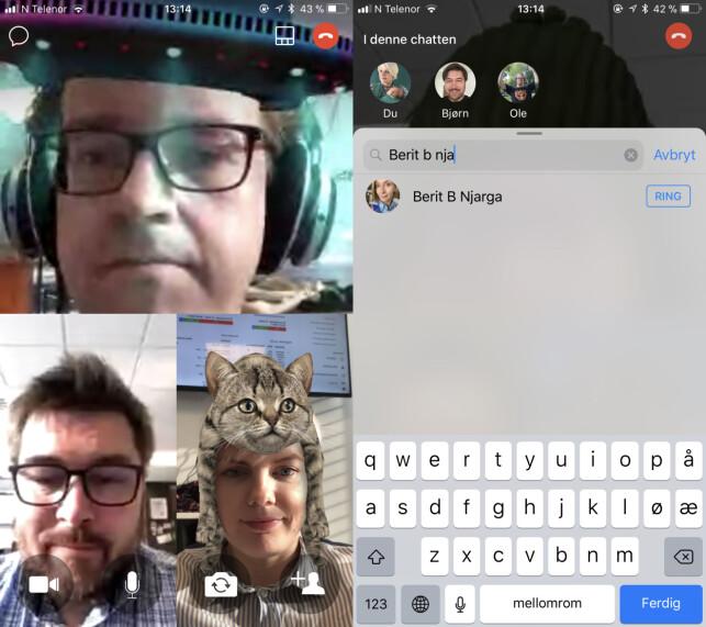 """INVITÉR EN KOLLEGA: Trykker du på skjermen under en videosamtale i Facebook Messenger, vil du få opp """"legg til person""""-knappen som du ser i den røde sirkelen. Skjermbilde: Kirsti Østvang"""
