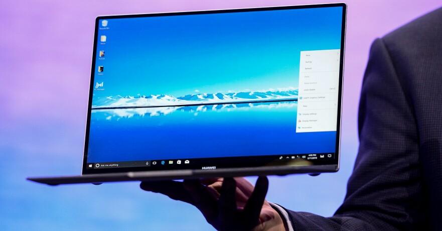 91 PROSENT: Huawei Matebook X Pro har en 13,9 tommers skjerm som dekker 91 prosent av flaten. Foto: Josep Lago / AFP / NTB Scanpix