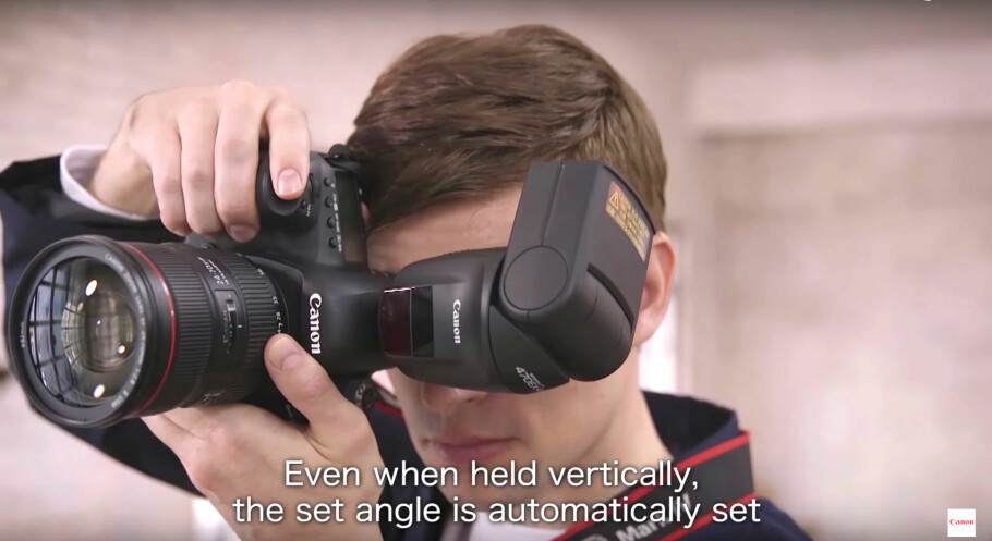 SIKTER SELV: Canons nye blits måler automatisk avstand til motiv og tak og justerer vinkelen selv, slik at lyses spres best mulig. Foto: Canon / YouTube