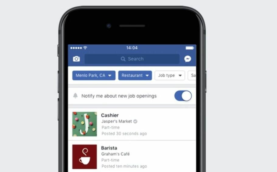 KOMMER SNART: Nå utvides Facebook Marketplace til også å omfatte ledige stillinger. Foto: Facebook
