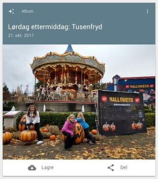 AUTOMATISK: Etter en tur på Tusenfryd på Halloween der vi tok litt bilder og video, lagde Googles assistent automatisk et album fra turen etterpå. Foto: Pål Joakim Pollen