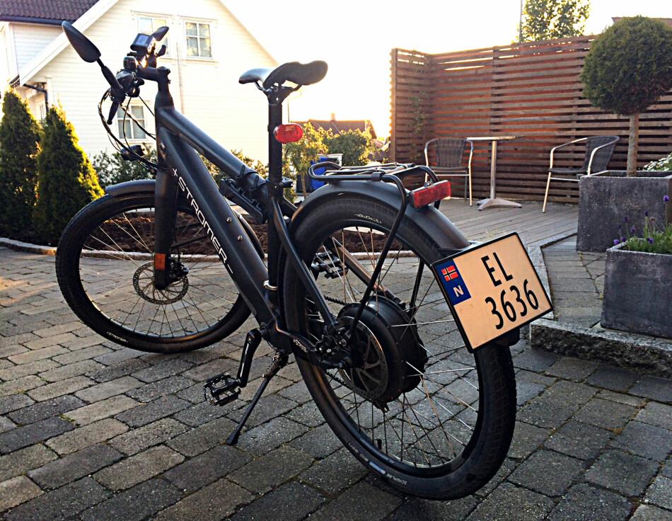 LOVLIG: Slik ser en Stromer 45 km/t-elsykkel ut når den er registrert og skiltet som moped. Foto: Marius Marker