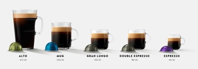 TRE STØRRELSER: De nye Nespresso-kapslene kommer i tre forskjellige størrelser, i motsetning til de gamle Nespresso-kapslene, som bare kommer i én størrelse. Foto: Produsenten