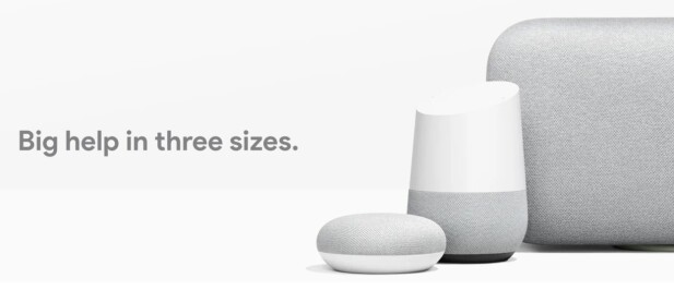 TRE VARIANTER: Google Home-høyttalerne kommer i tre størrelser, og hver av dem i ulike farger. Kanskje får vi se dem i norske butikker allerede denne våren. Foto: Google